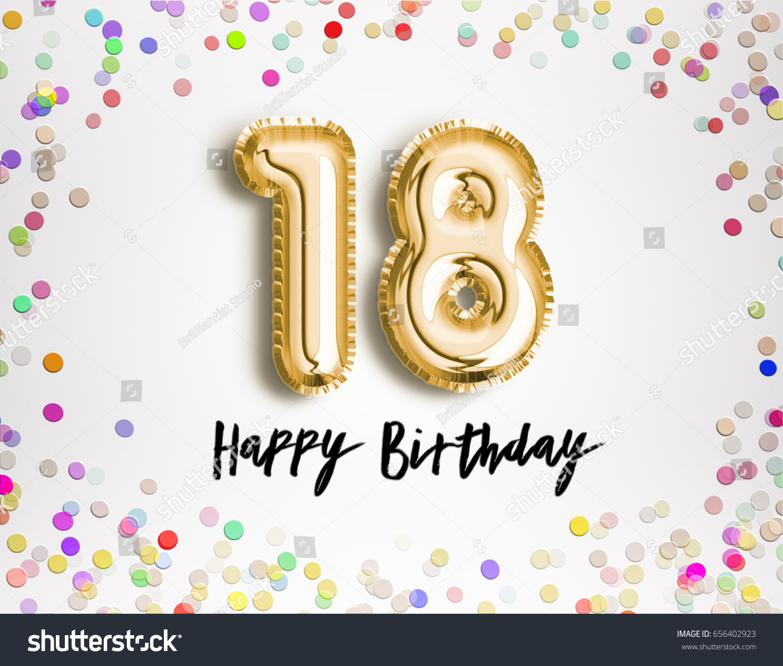 18th Birthday Celebration Gold Balloons Colorful Stock Illustration