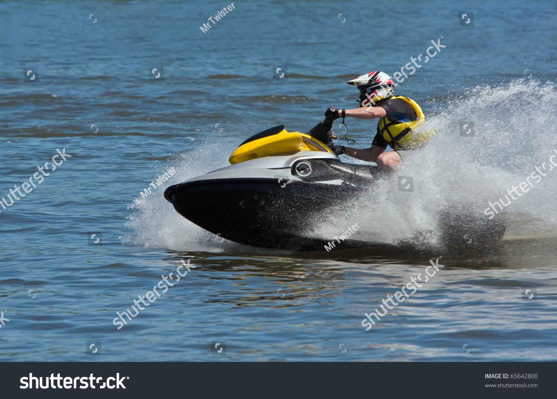 Man Riding Jet Ski Wet Bike Stock Photo 65642800 Shutterstock