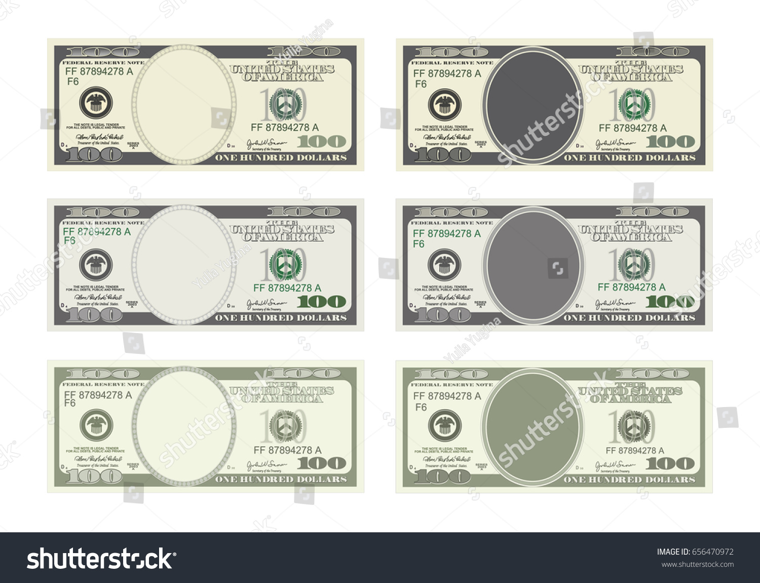 Design template 100 dollars banknote bill stock vector 656470972 design template 100 dollars banknote bill one hundred dollars in six options suitable for pronofoot35fo Choice Image