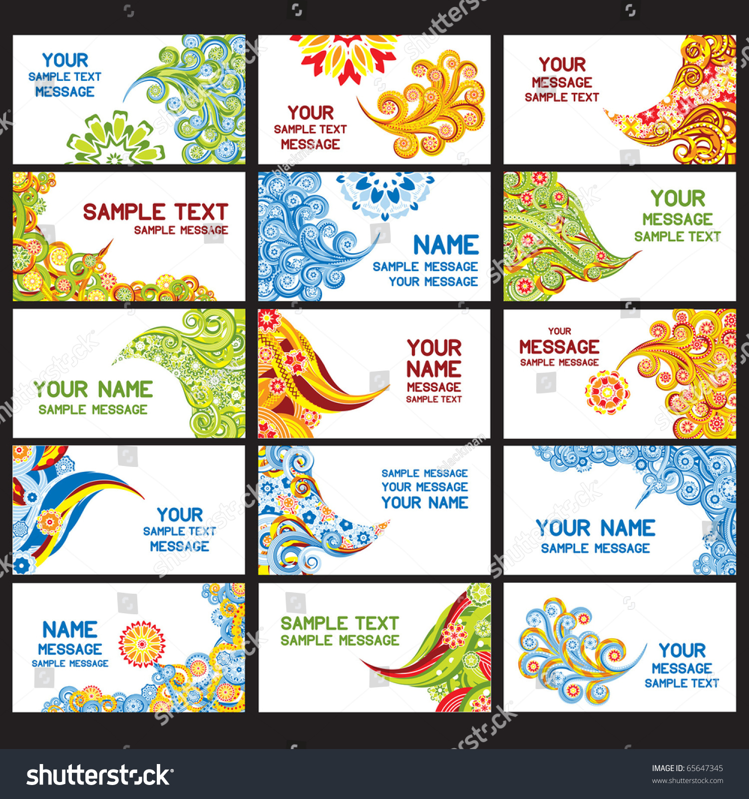 15 Abstract Asian Business Cards Set Stock Vector 65647345 ...