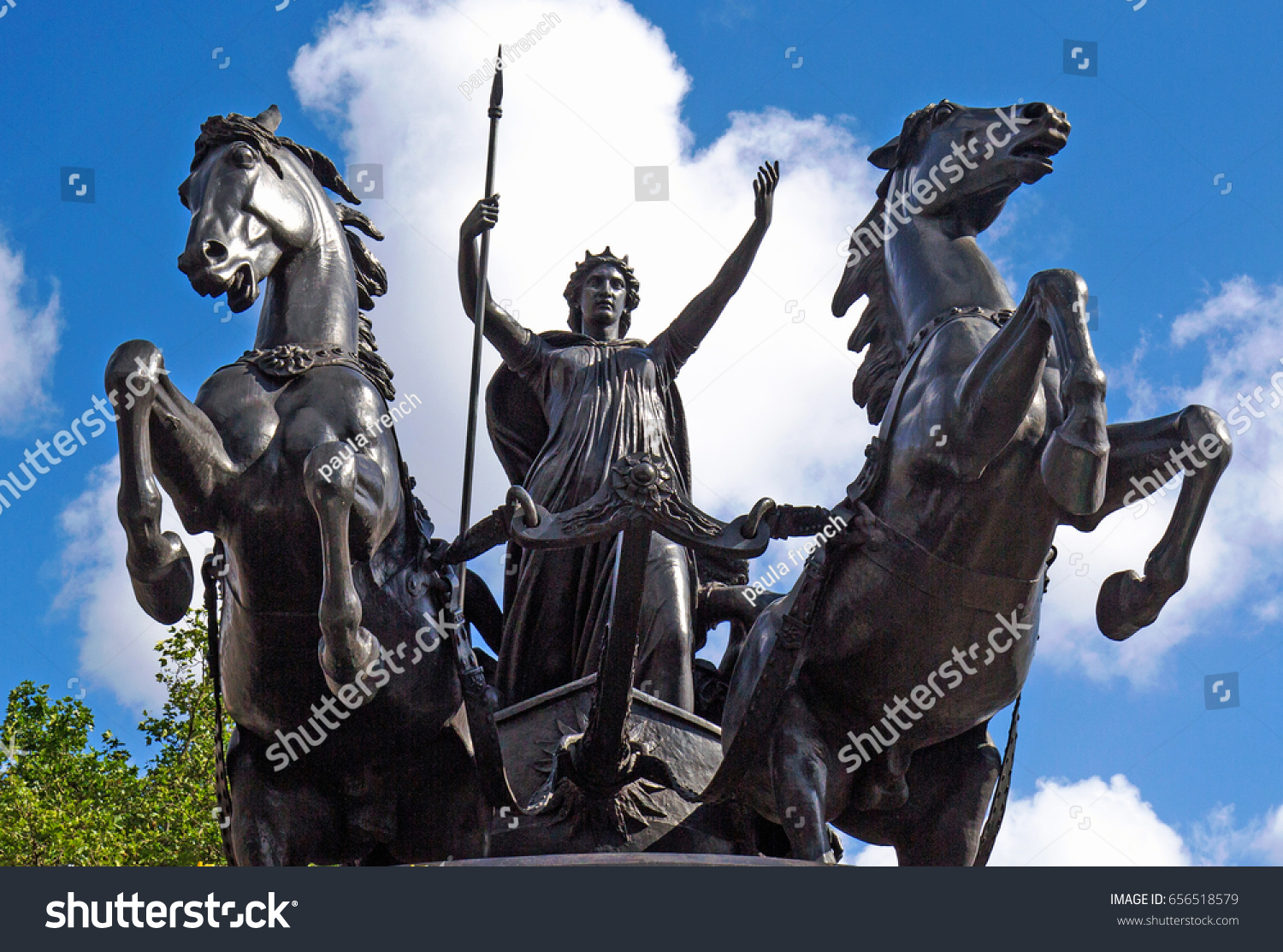 Boadicea and Her Daughters is a bronze sculptured monument and is located on Westminster Pier in London.  The sculptor was Thomas Thornycroft.  Westminster Bridge,  London, England, 2016