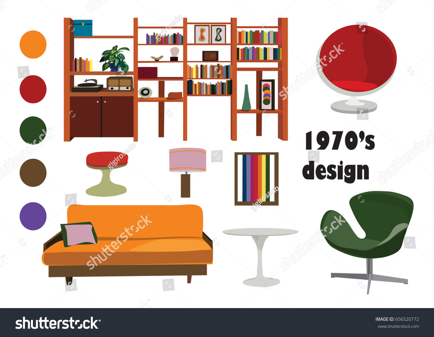 1970s 70s interior design vector elements stock vector for Interior design images vector
