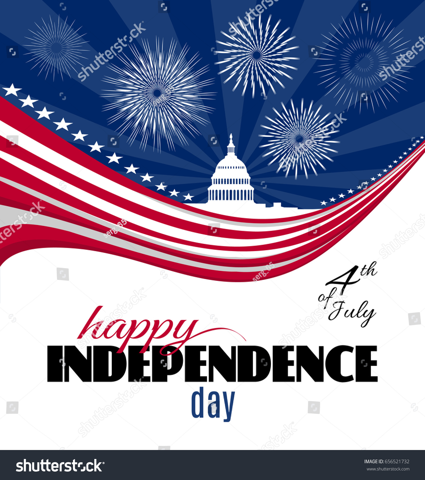 Happy Independence Day Greeting Card Poster Stock Vector (Royalty ...