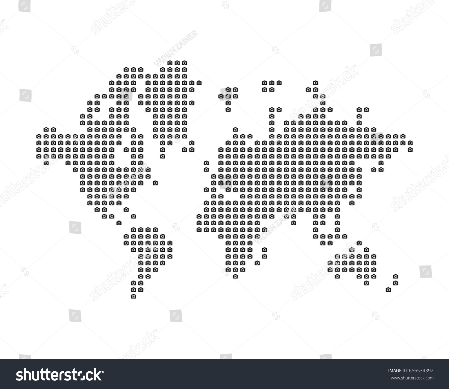 World map consists icon photo camera stock vector 656534392 the world map consists of icon photo camera concept for photographer flat vector illustration gumiabroncs Images