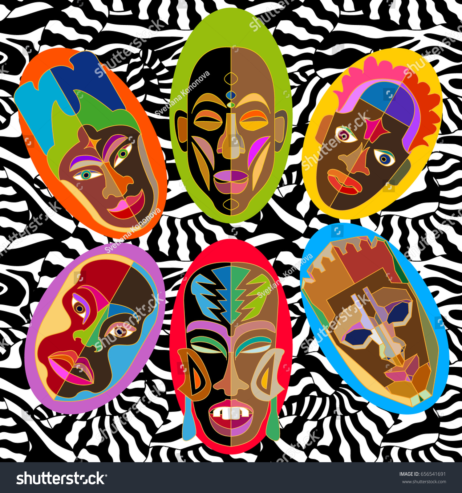 Silk scarf with African masks on zebra print. Design inspired by aboriginal  art. Ethnic