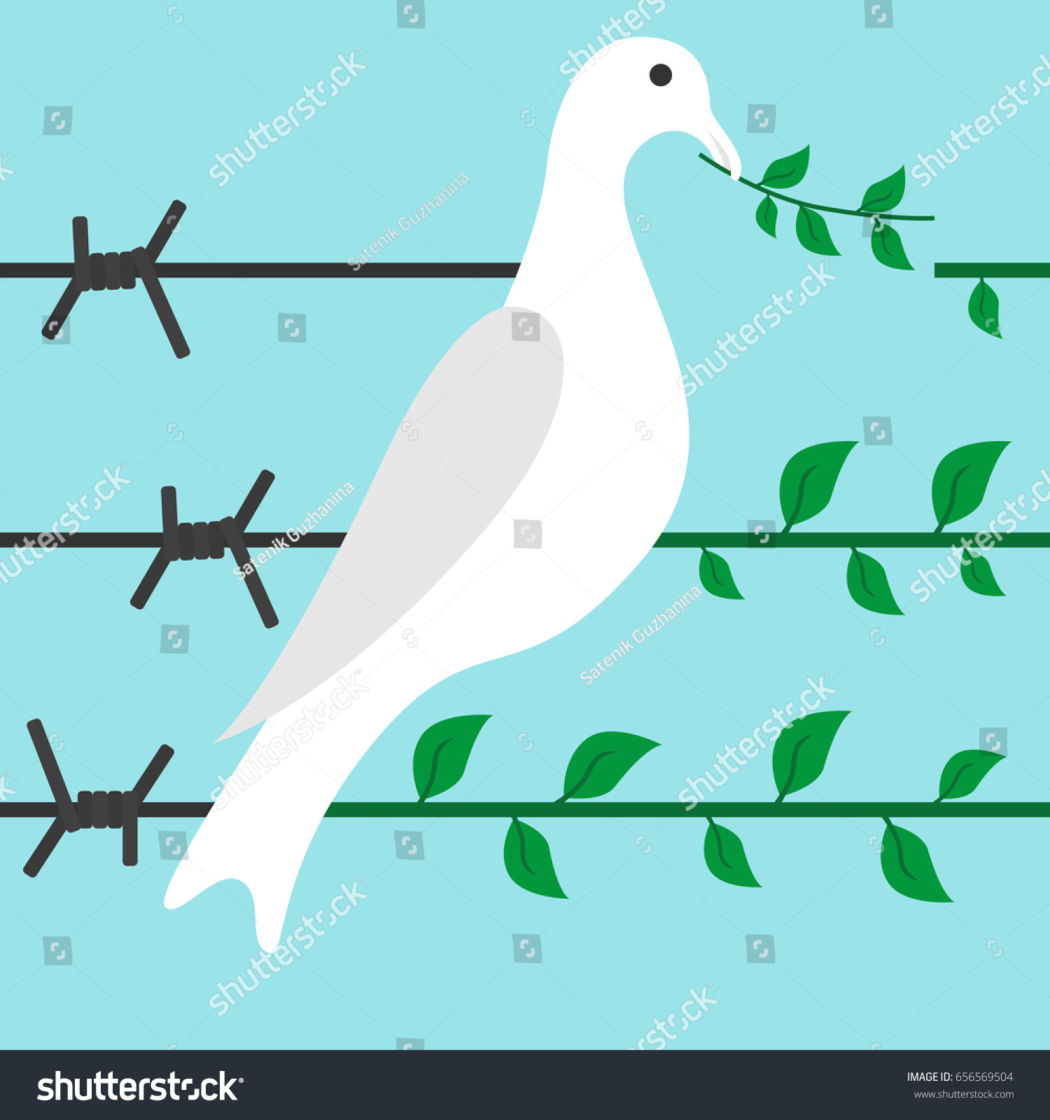 Bird Turns Barbed Wire Branch On Stock Illustration - Royalty Free ...