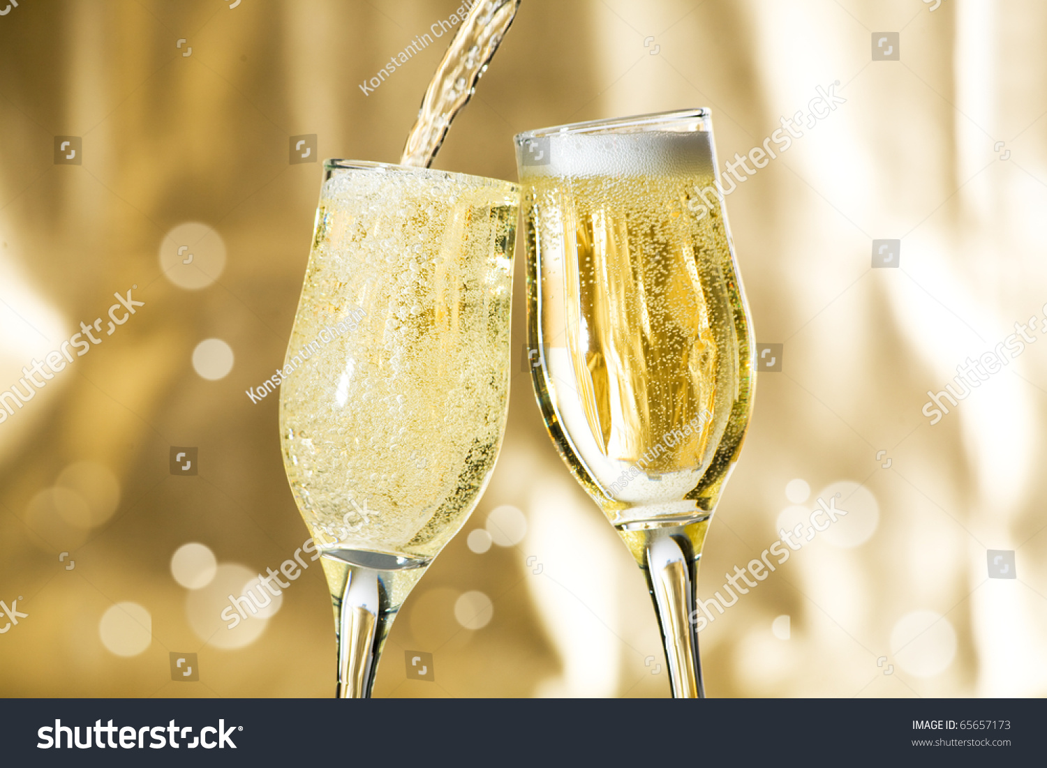 Pair Champagne Flutes Making Toast Stock Photo 65657173