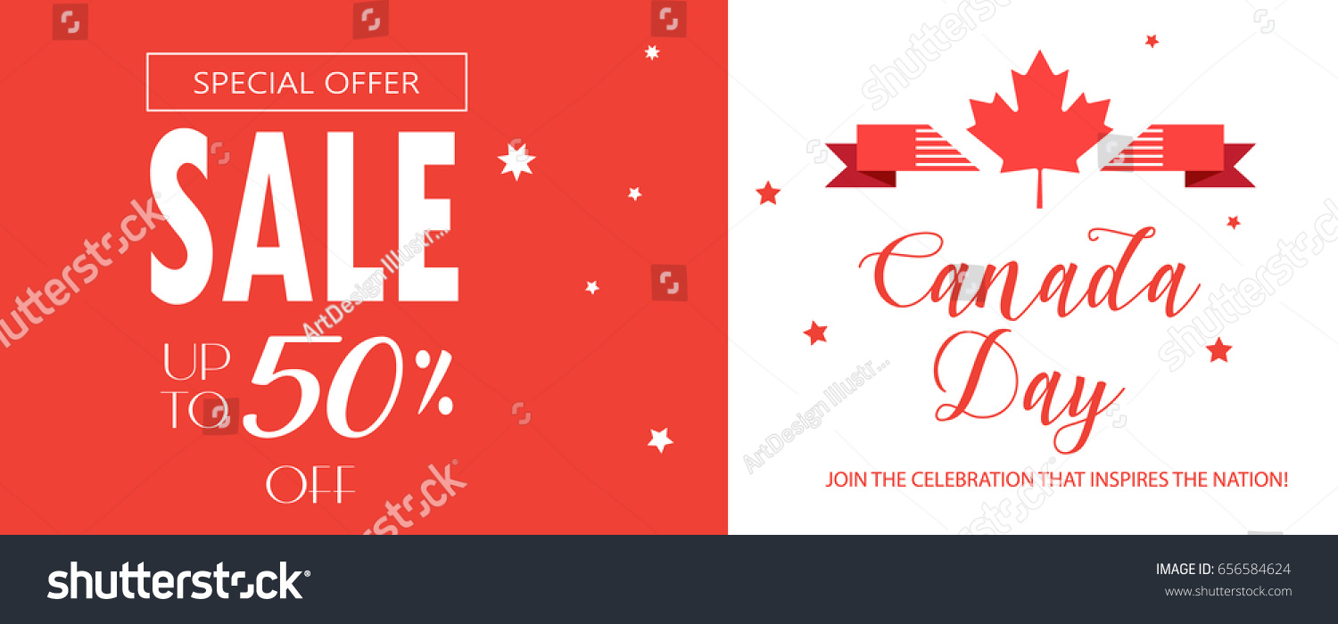 Happy canada day sales card poster stock vector 656584624 sales card poster placard voucher with maple logo kristyandbryce Images