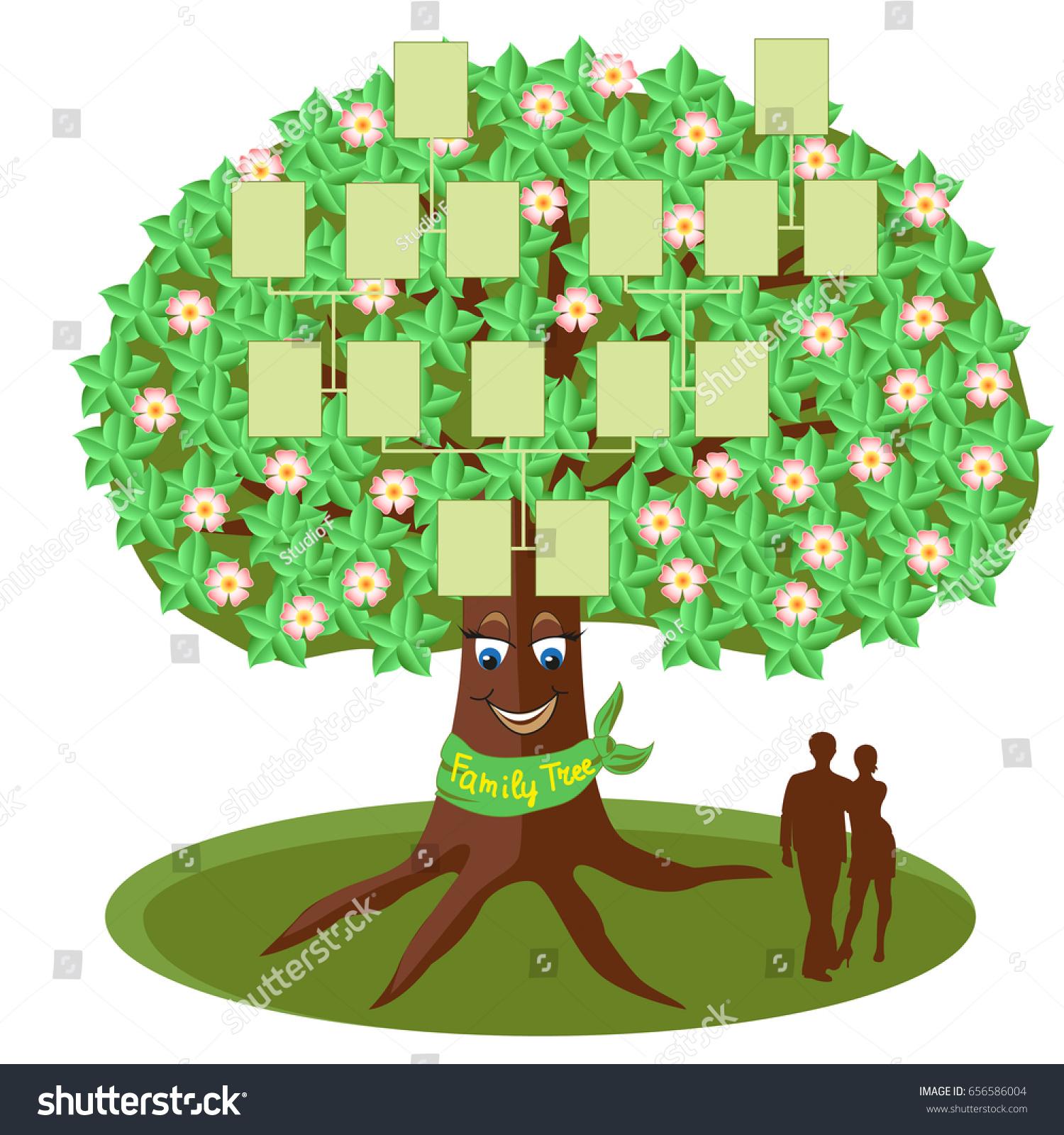 Family Tree Template Empty Frames Photos Stock Vector Royalty Free