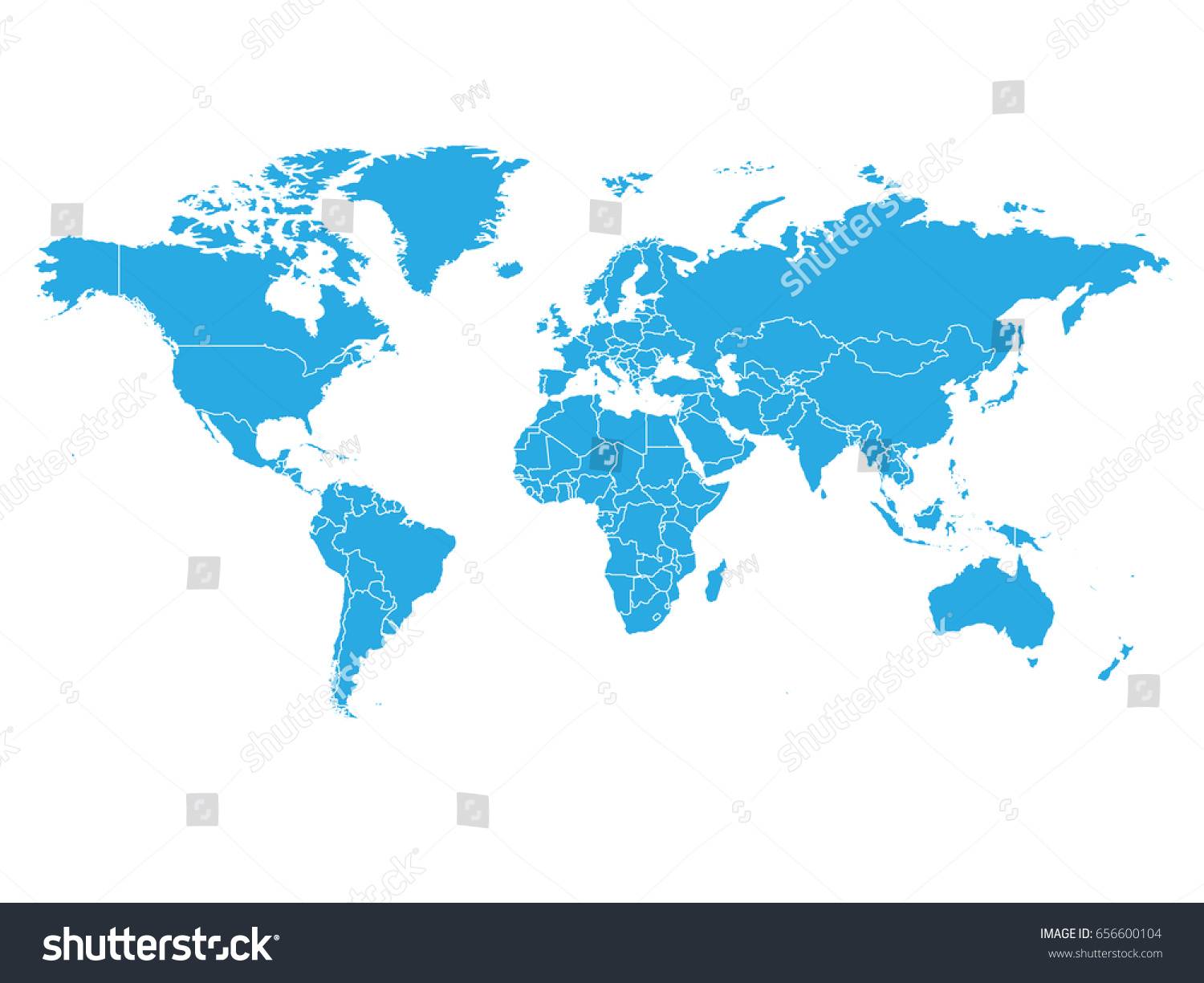 Blank Color World Map.World Map Blue Color On White Stock Vector Royalty Free 656600104