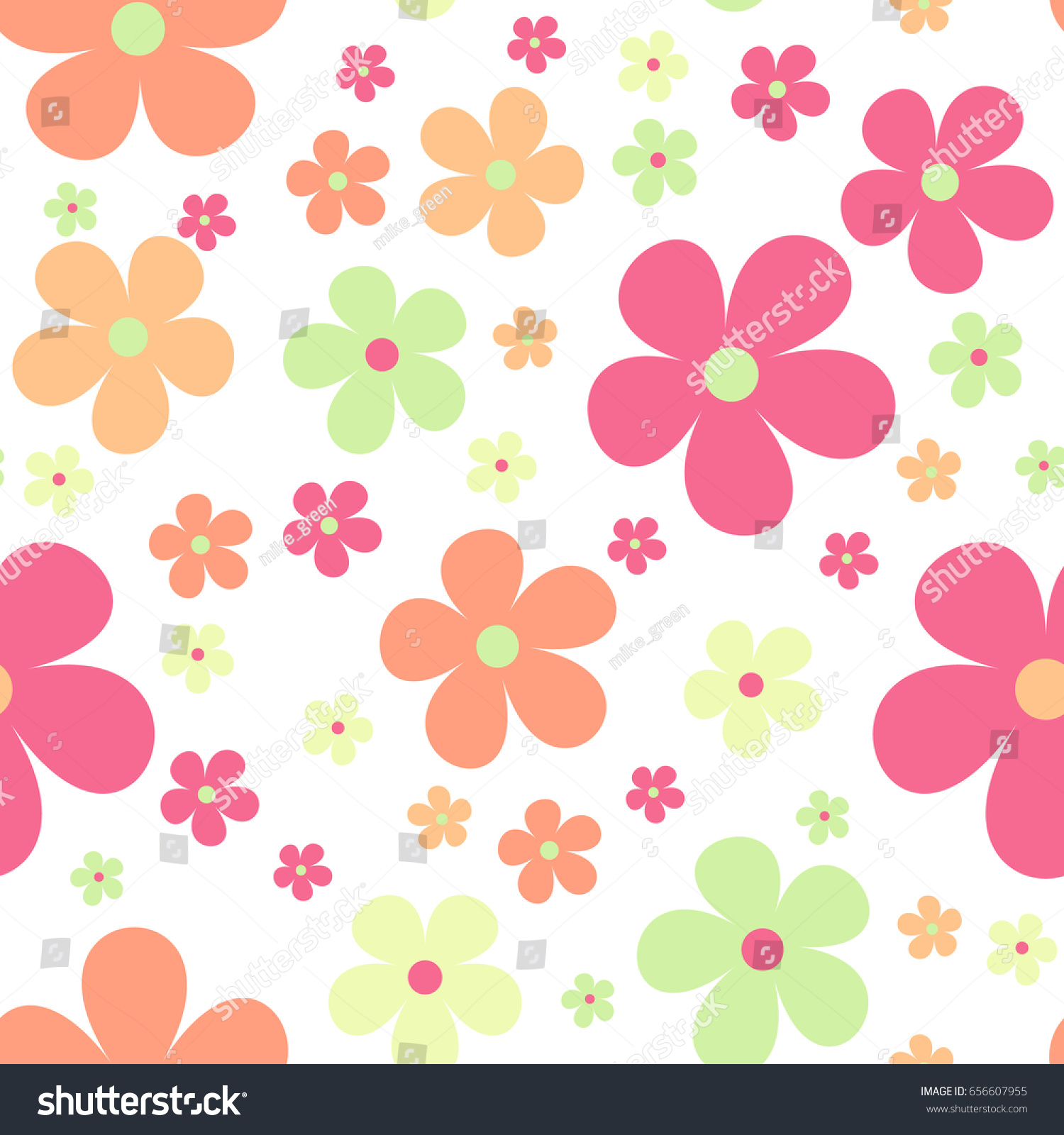 Seamless Cute Floral Pattern Vector Background Flowers Wrapping