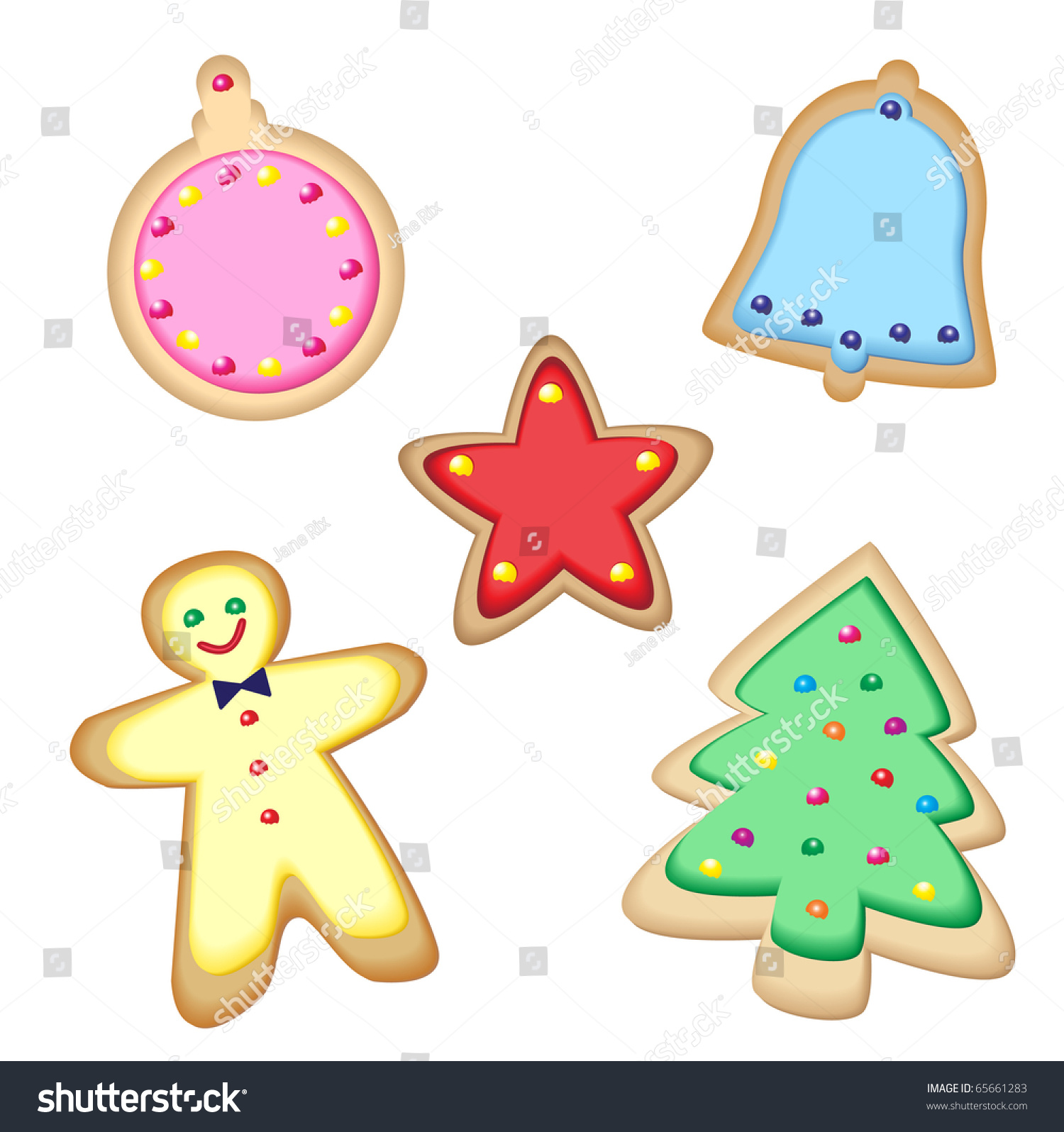 Iced Christmas Cookies Isolated On White Stock Vector (Royalty Free ...