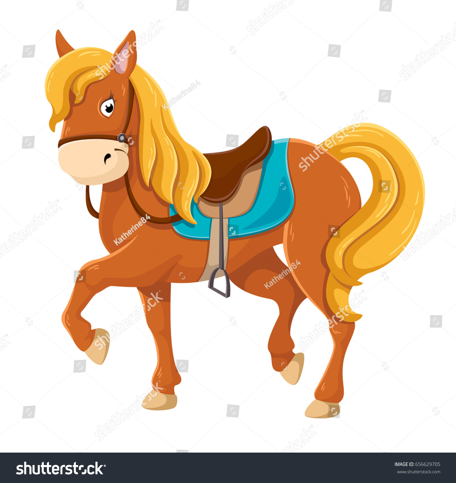 Cute Cartoon Horse Illustration Stock Vector Royalty Free 656629705