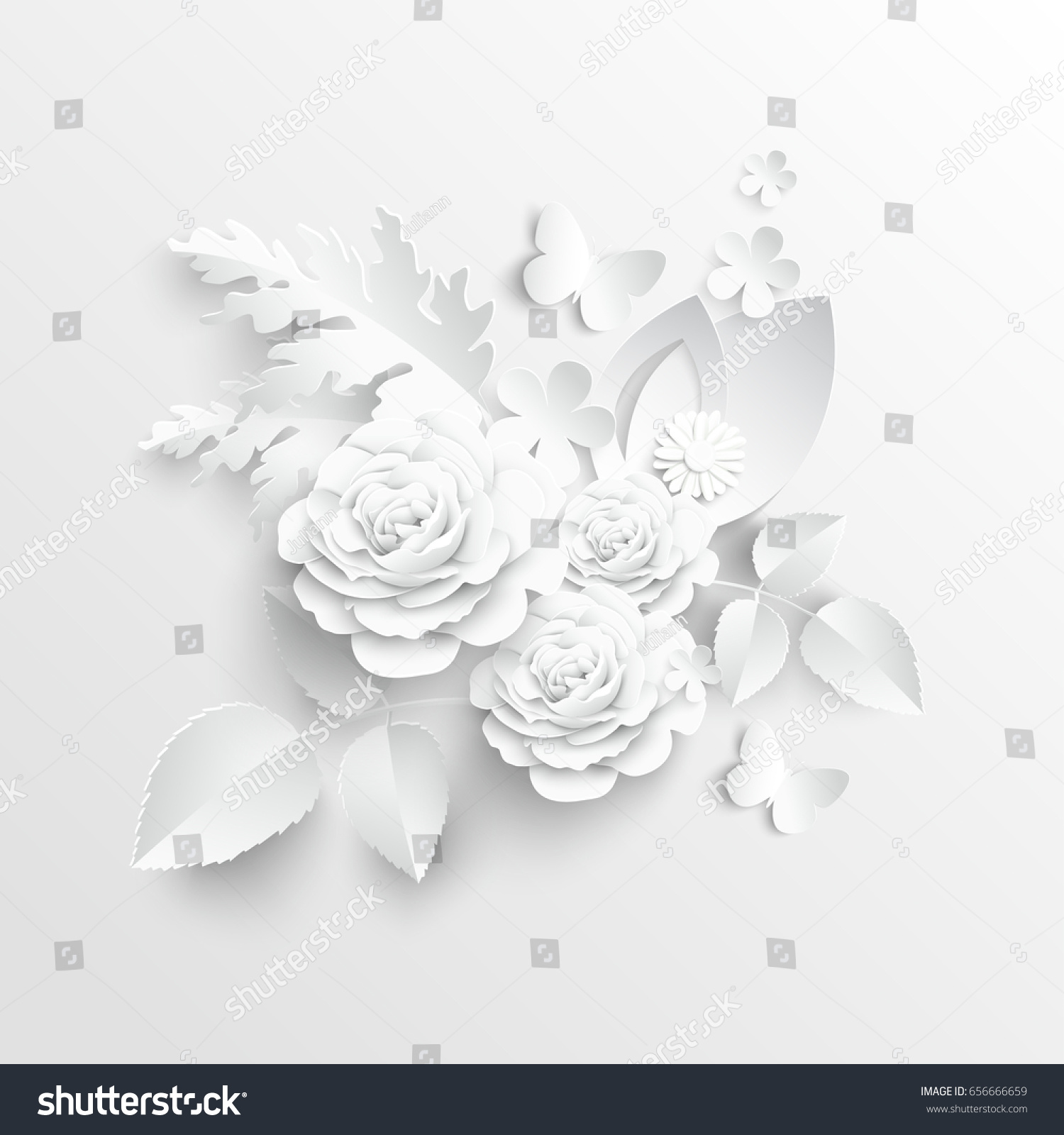 Paper Flower Roses Cut Paper Wedding Stock Vector Royalty Free