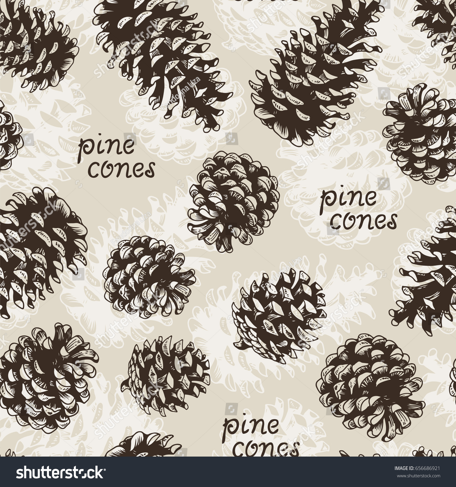 Pine Cones Fir Tree Seamless Pattern Stock Illustration 656686921