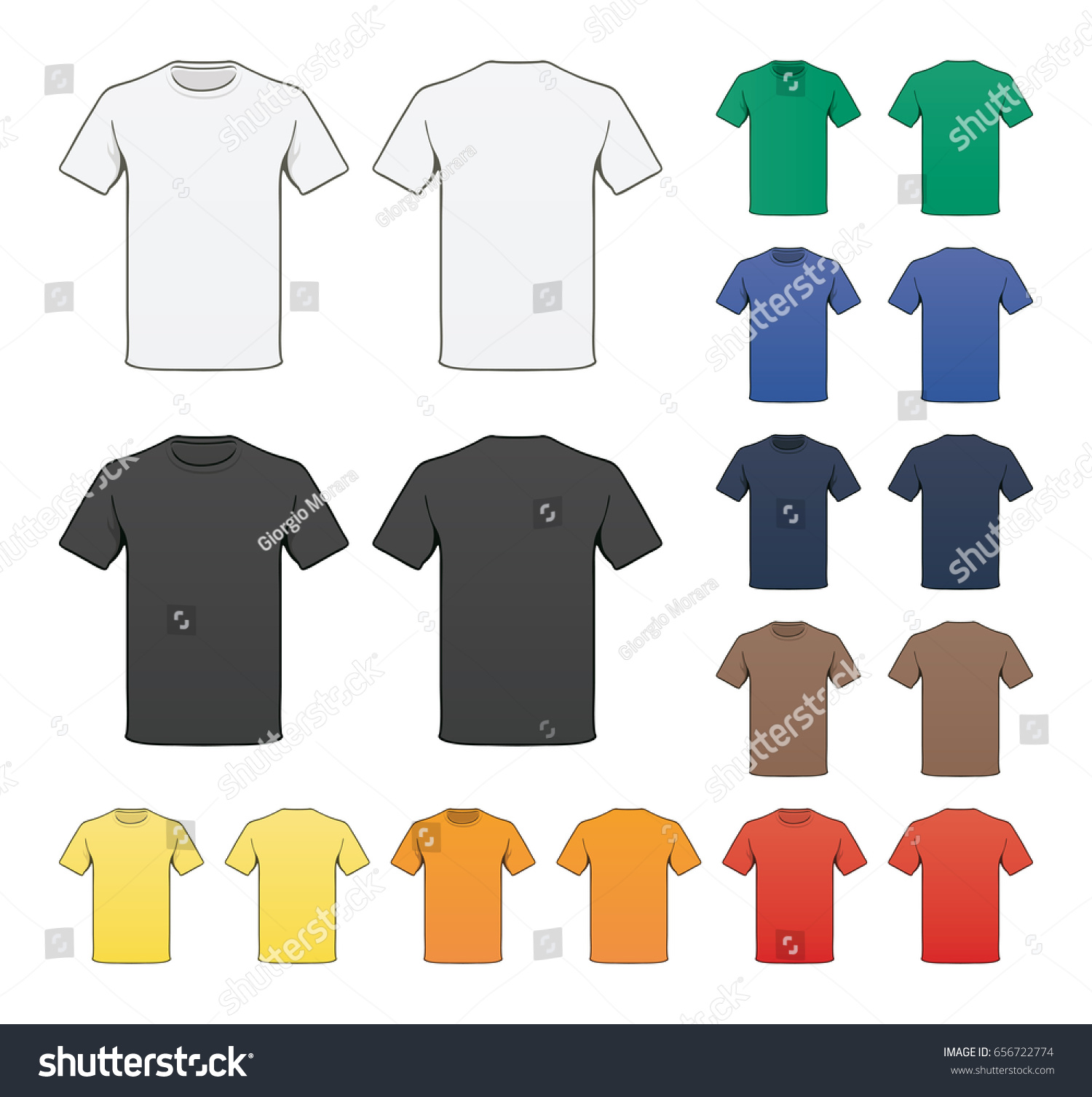 Blank Colored Tshirt Template Stock Vector (2018) 656722774 ...