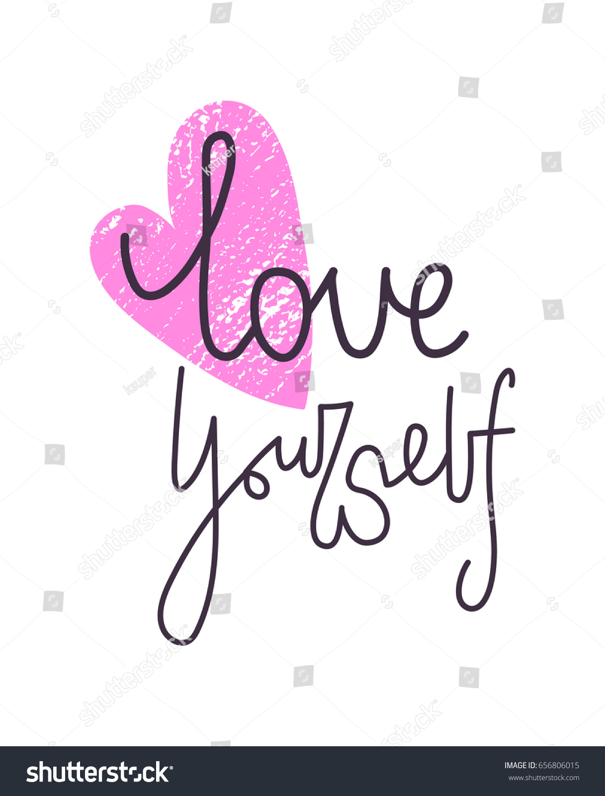 Love yourself motivating lettering pink textured stock vector love yourself motivating lettering with pink textured heart symbol on white background inspiring text buycottarizona