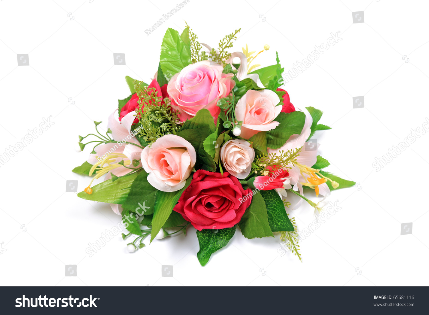 Wedding flower bouquet arrangement made by stock photo edit now wedding flower bouquet arrangement made by florists of bunch of fresh roses and lilies isolated on izmirmasajfo