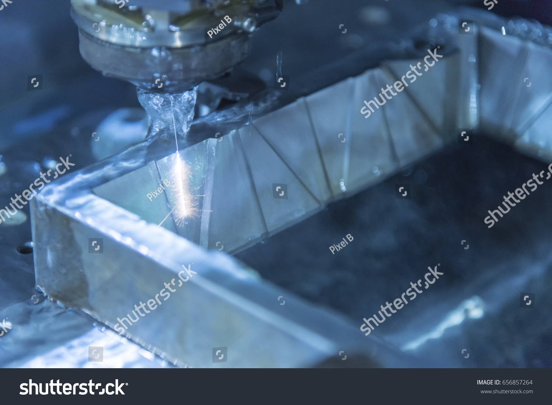 Closeup Wire EDM CNC Machine While Stock Photo (Royalty Free ...
