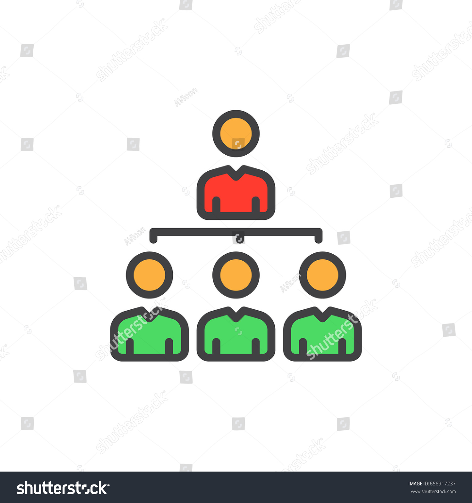 manager organization chart filled outline icon stock
