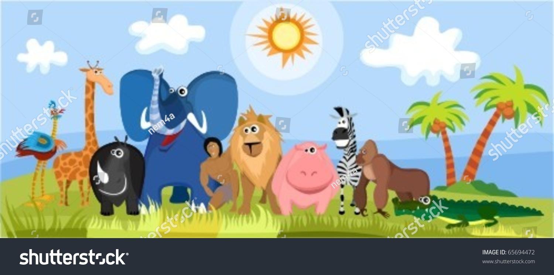 Cute Africa cartoon animals for children's rooms