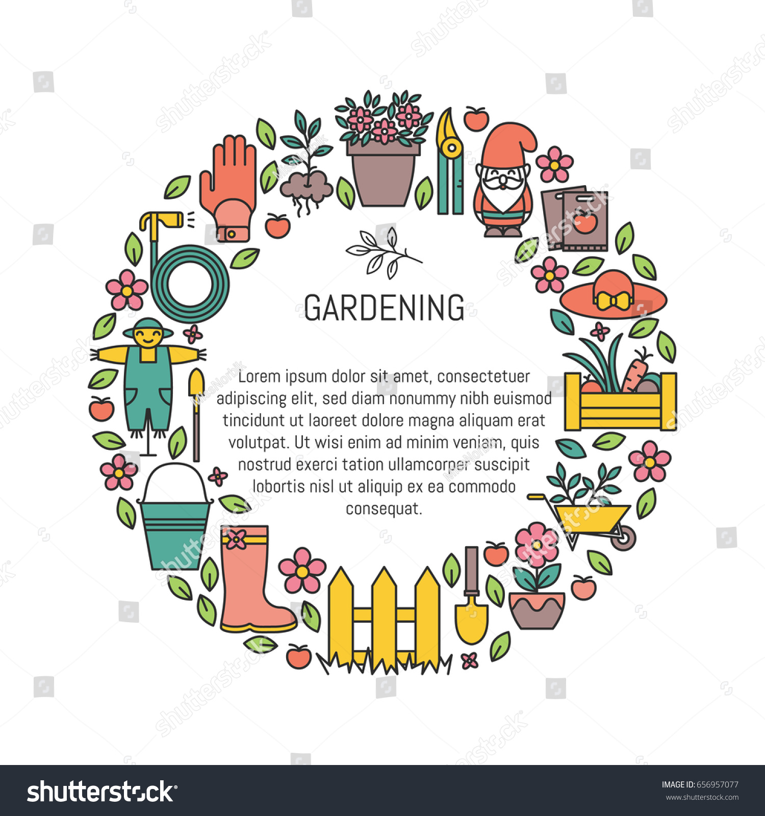 Vector poster gardening planting symbols trendy stock vector vector poster with gardening planting symbols in trendy linear style garden equipment poster biocorpaavc Images