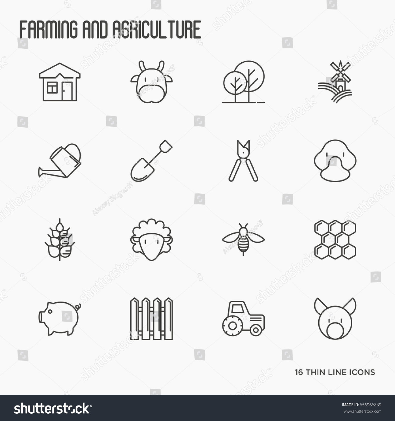 Agriculture icons different animals tools symbols stock vector agriculture icons with different animals tools and symbols for eco products farming flyers and buycottarizona
