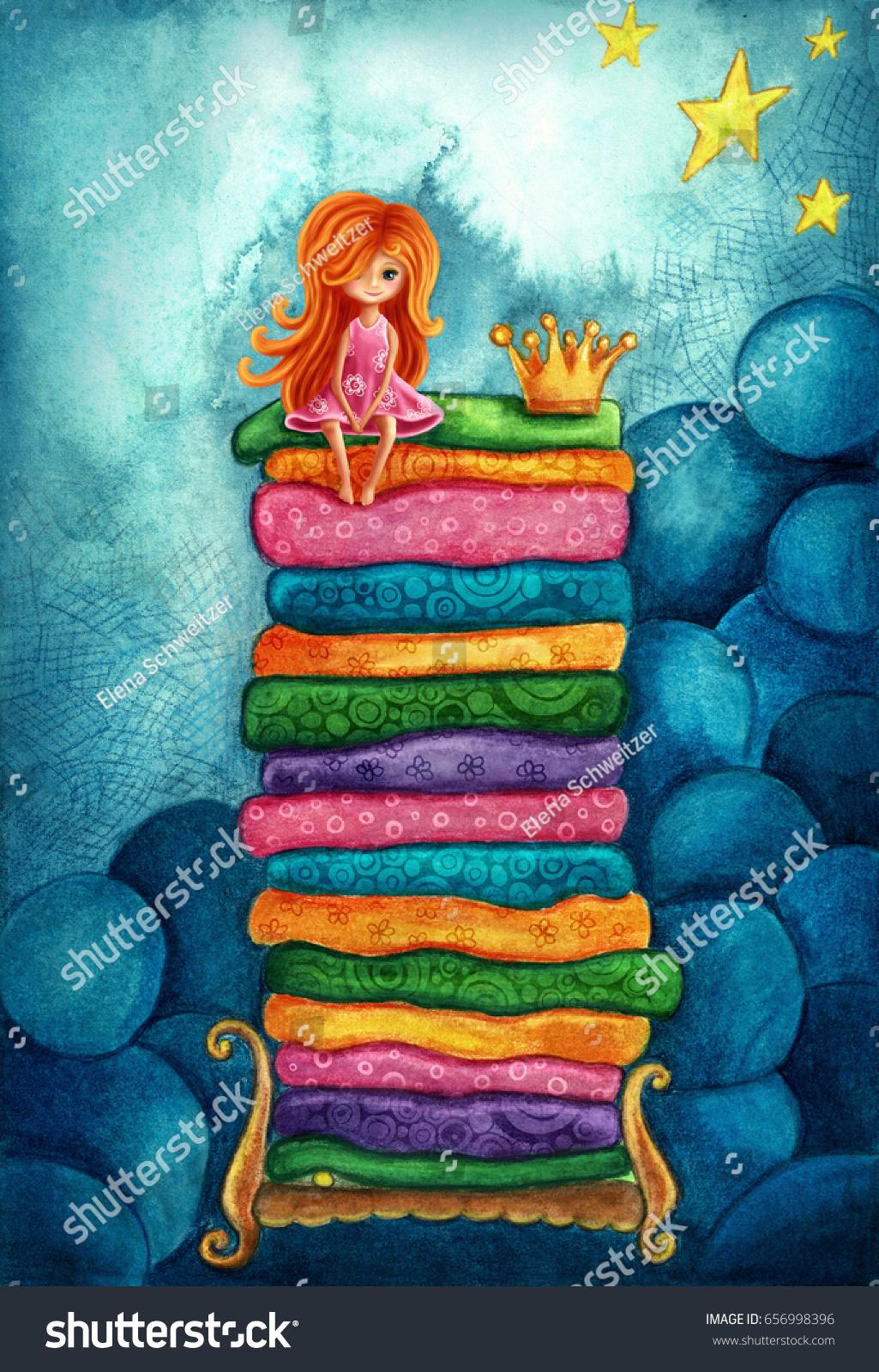 princess and the pea illustration. the princess and pea. illustration pea h