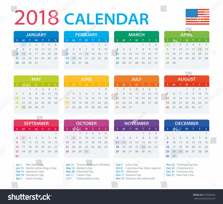 2018 calendar us