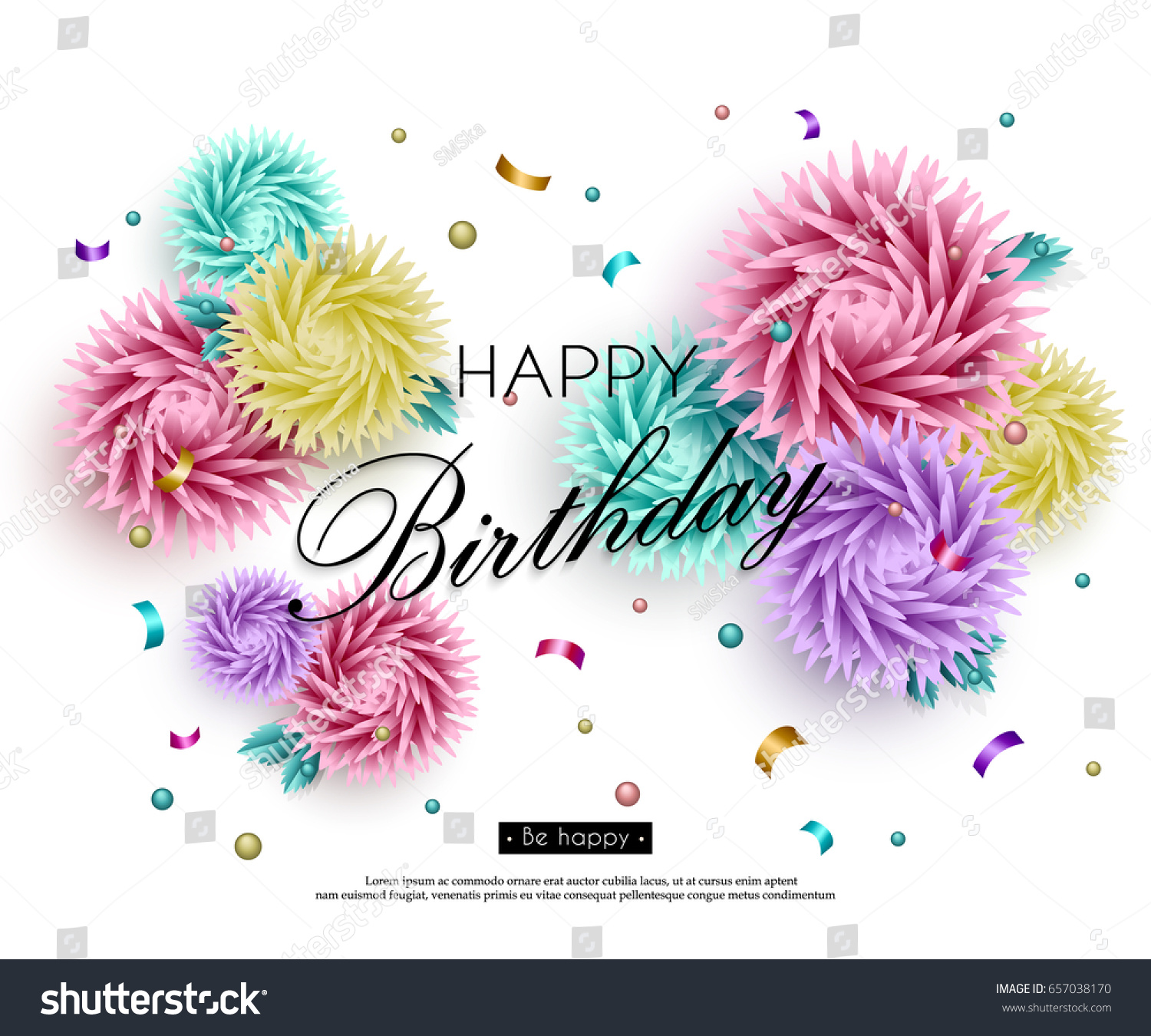 Happy Birthday You Background 3d Flowers Stock Vector