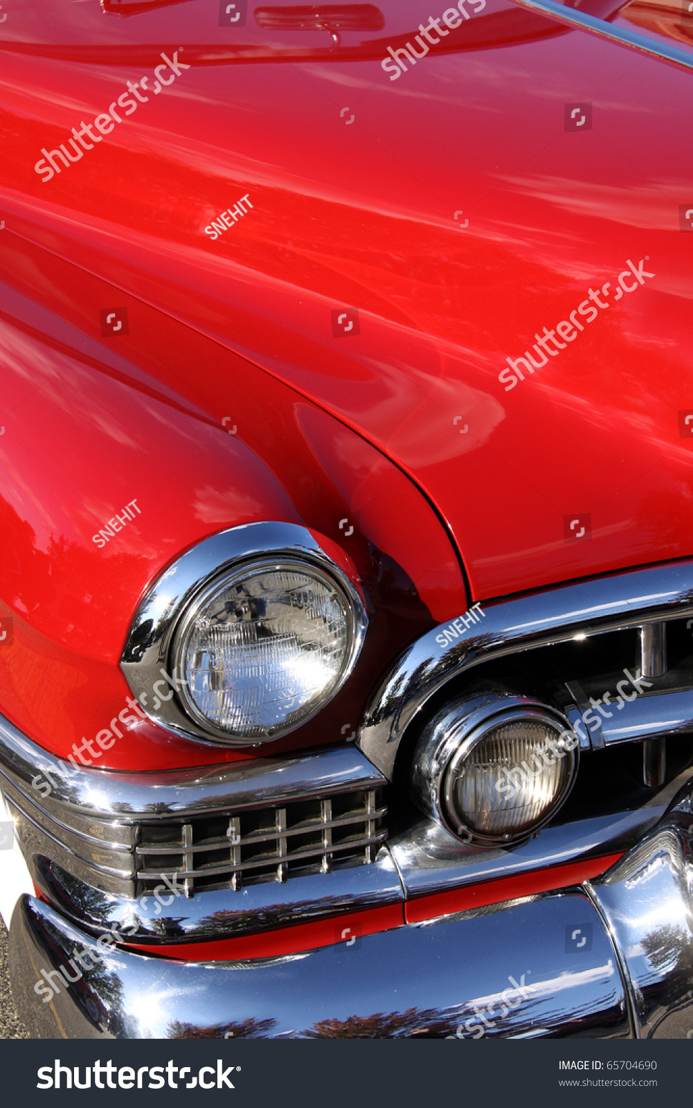 Classic Car With Close Up Shot Front Right View Stock