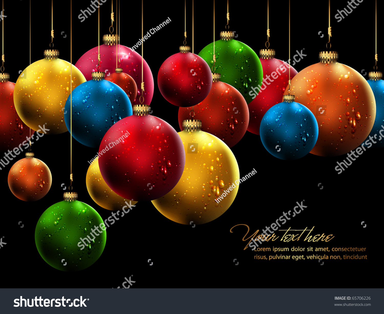 Many christmas balls shiny water drops stock vector
