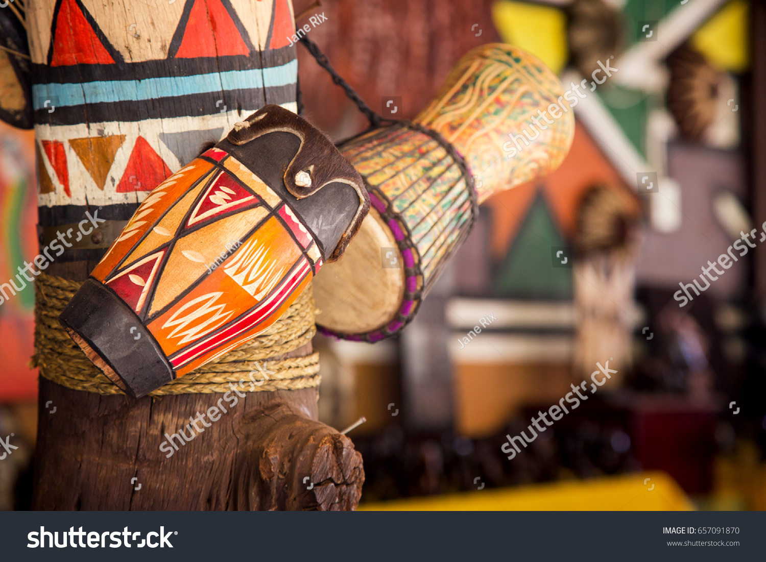 Traditional handmade drums for sale at Lesedi Cultural Village, South Africa,