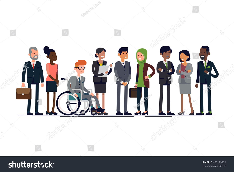 business characters vector lineup diverse businessmen stock vector