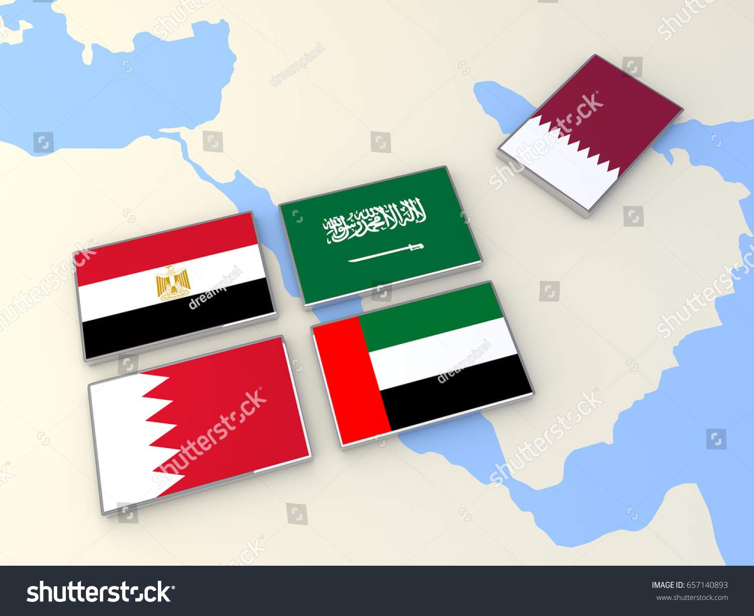 Qatar Political Conflict Saudi Arabia Egypt Stock Illustration - Map of qatar and egypt
