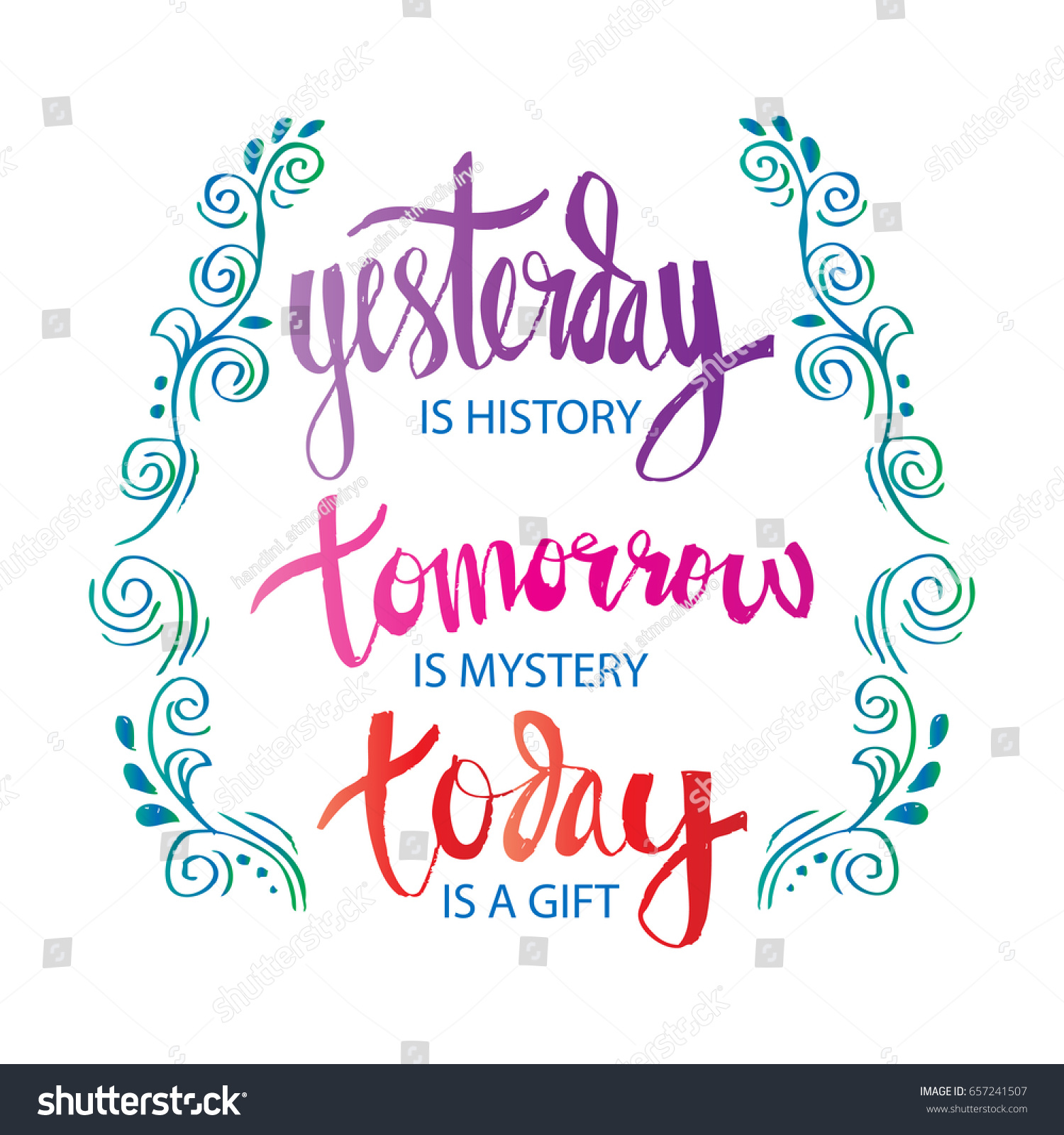 Inspirational Motivating Quote Yesterday History Tomorrow Stock