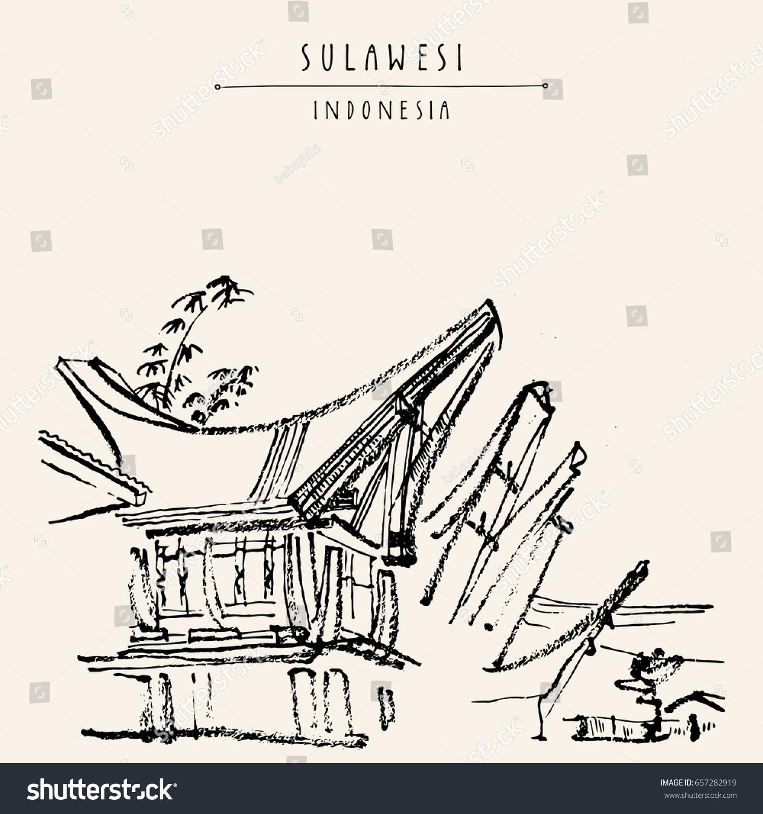 Traditional Tongkonan Houses Tana Toraja Sulawesi Stock Vector