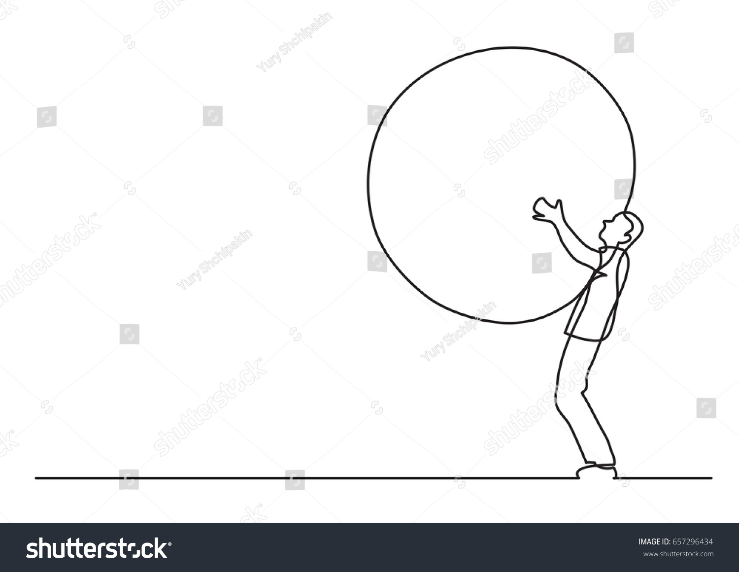 Single Weight Line Art : Man carrying weight single line drawing stock vector