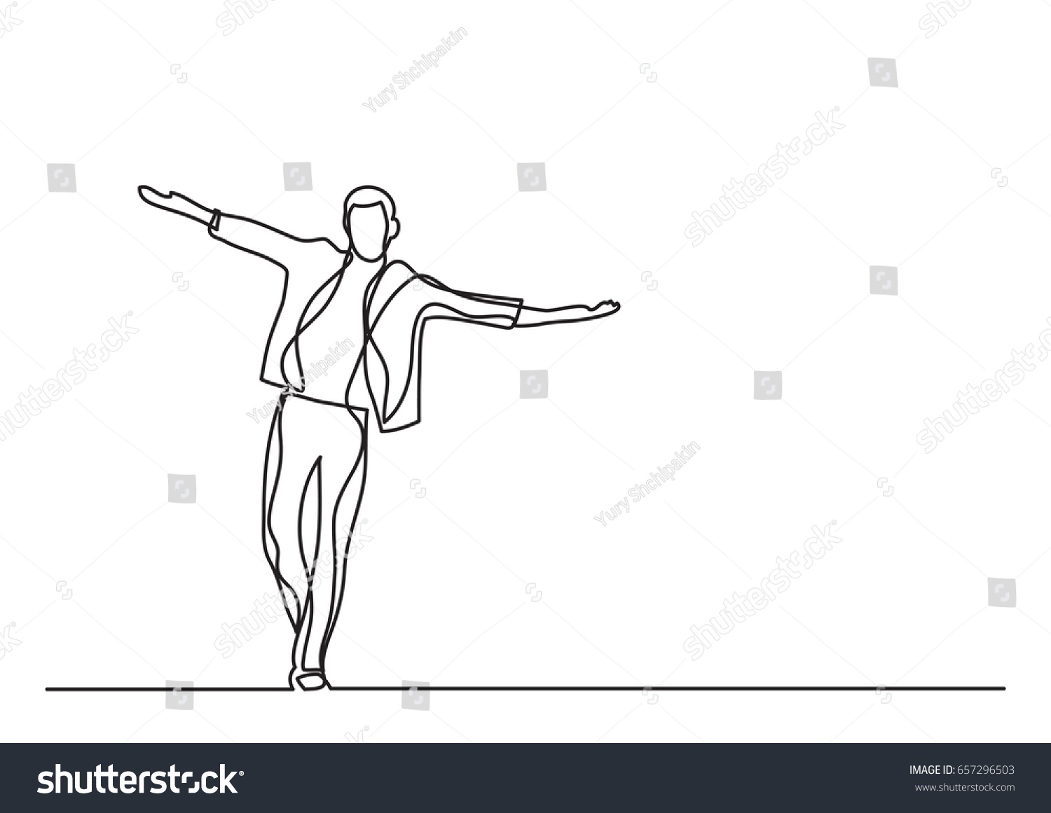 Line Drawing Pictures : Happy man walking single line drawing stock vector hd royalty