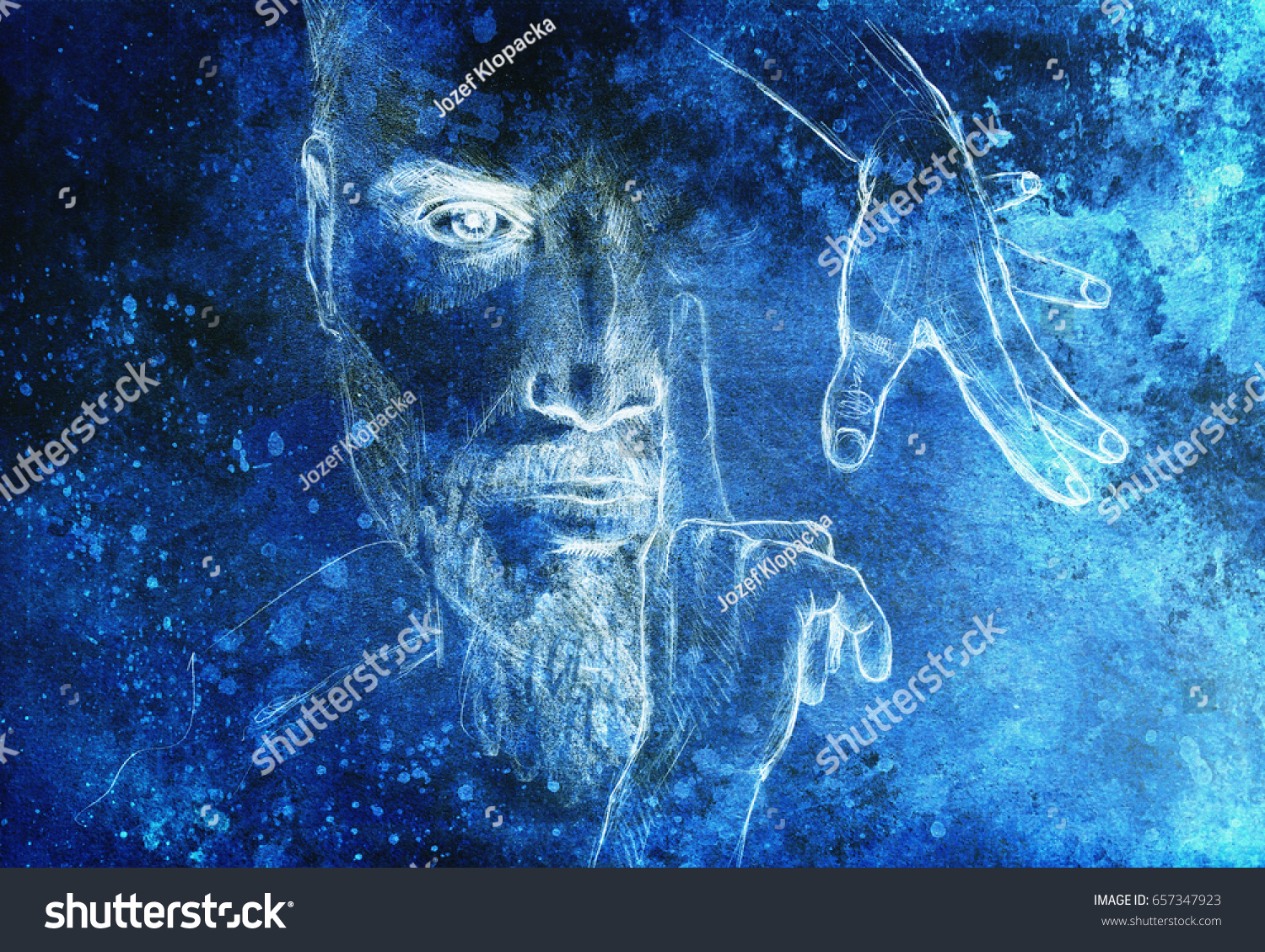 Mystic Man Hands Pencil Drawing On Stock Illustration 657347923 ...