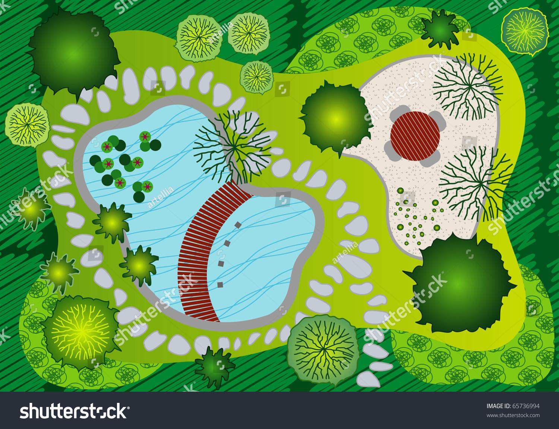 Garden Design Graphics plan landscape garden design professional illustration stock