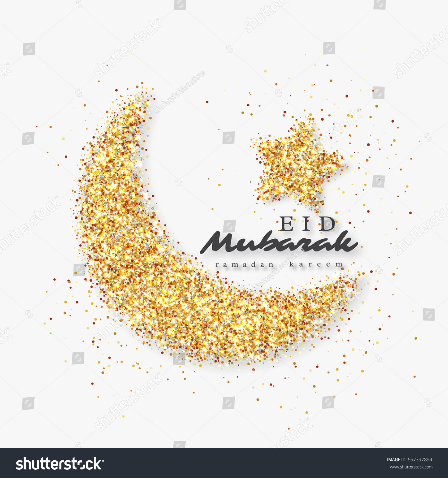 Eid Mubarak Glitter Holiday Design Glowing Stock Vector Royalty Free 657397894