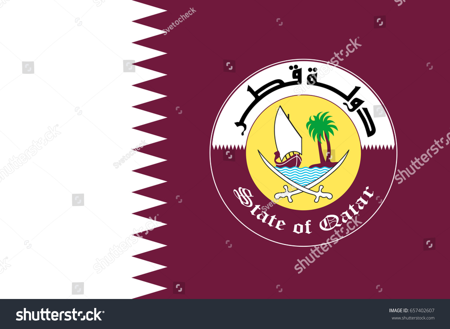 Flag qatar sovereign country located southwest stock vector flag of qatar is a sovereign country located in southwest asia occupying the small qatar buycottarizona Gallery