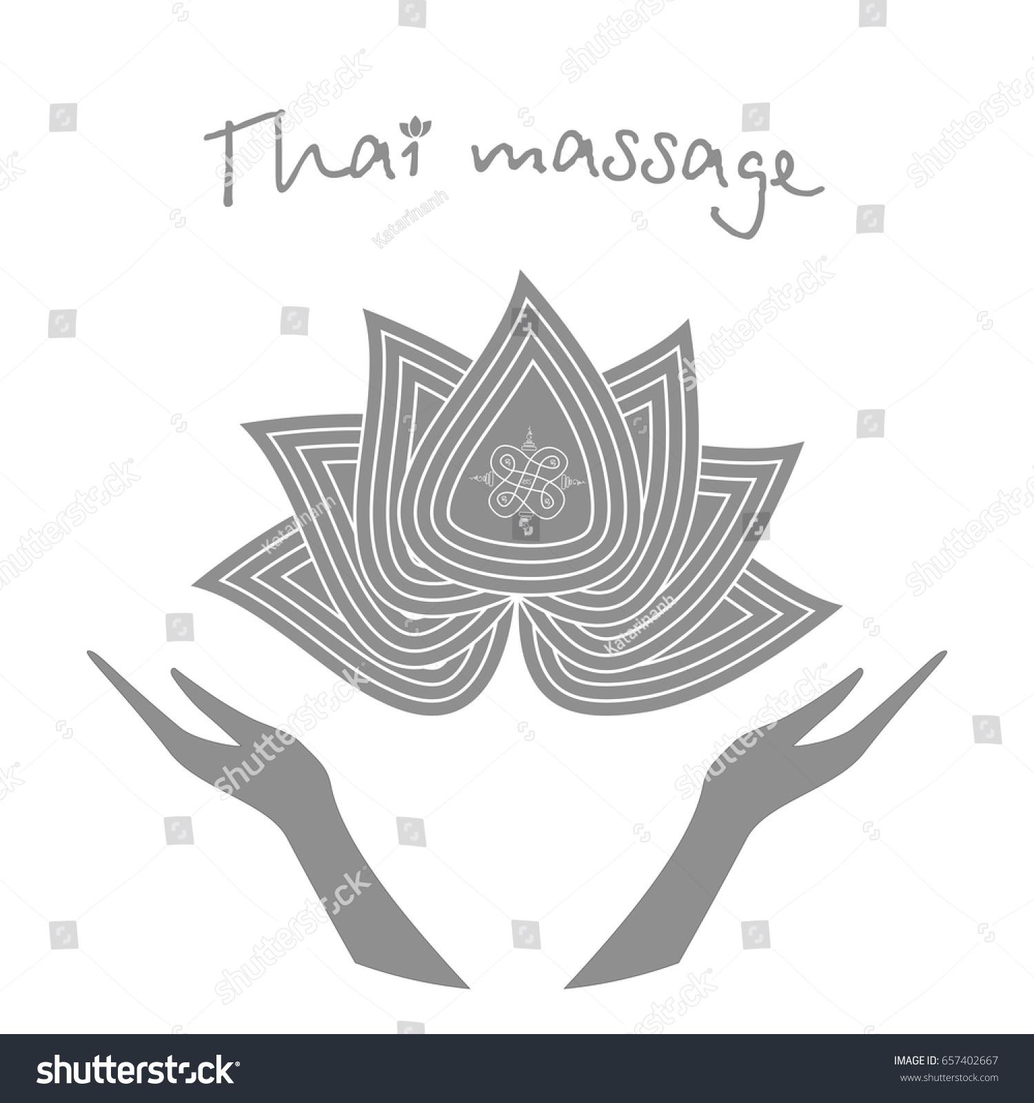 Logo Thai Massage Stylized Lotus Flower Stock Vector Royalty Free