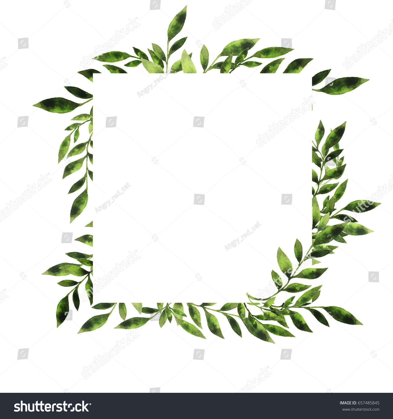 Green Leaves Branches Border Design Greeting Stock Illustration ...