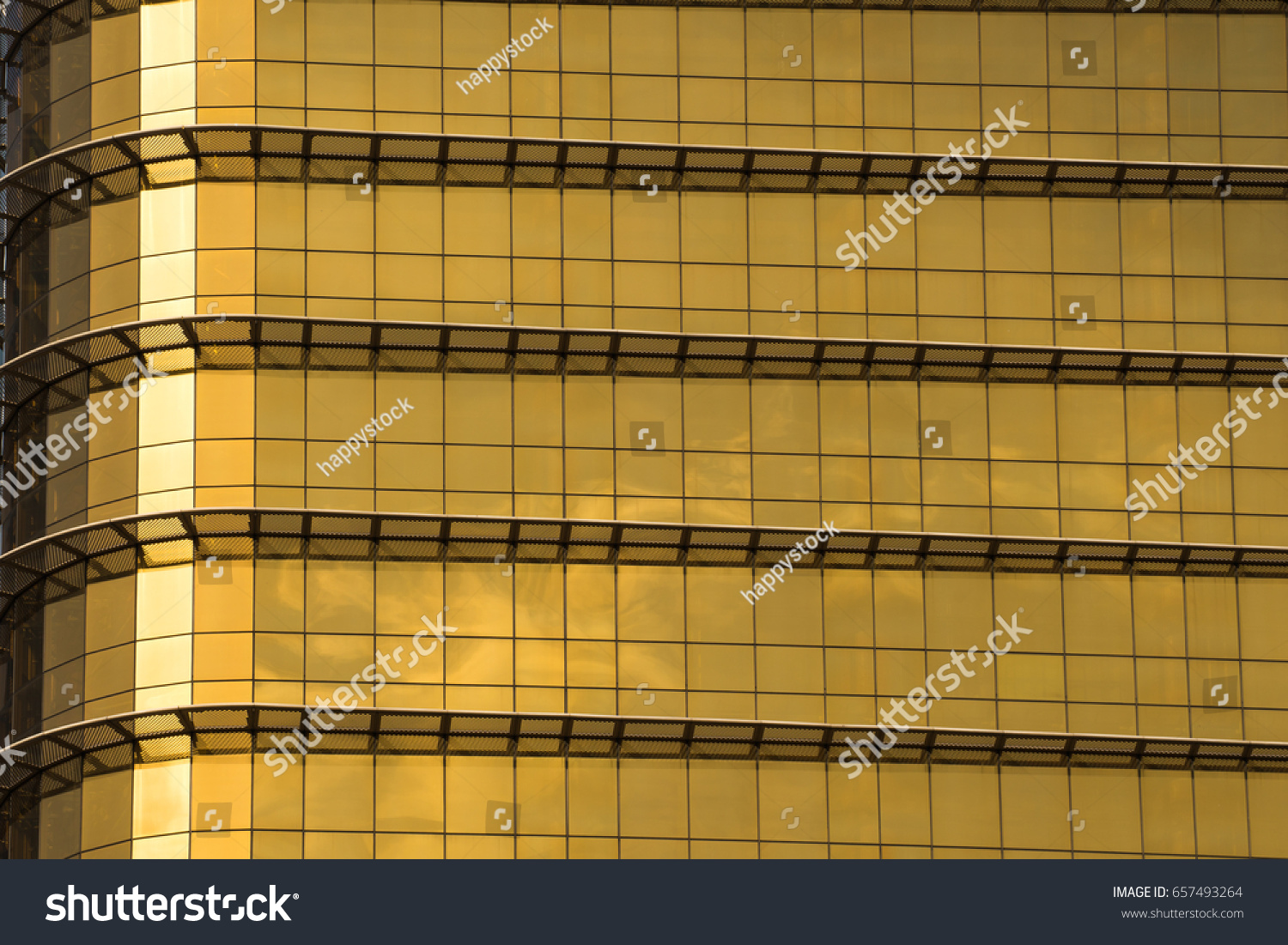 Yellow Gold Mirror Glass Building Exterior Stock Photo Edit Now 657493264