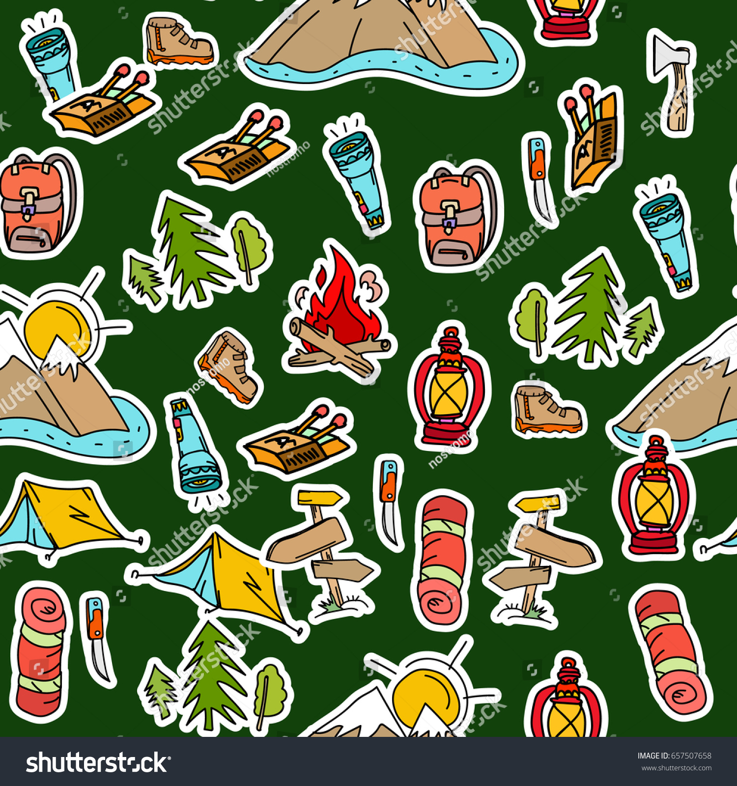 Camping Stickers Pop Art Seamless Pattern Stock Vector Royalty Free