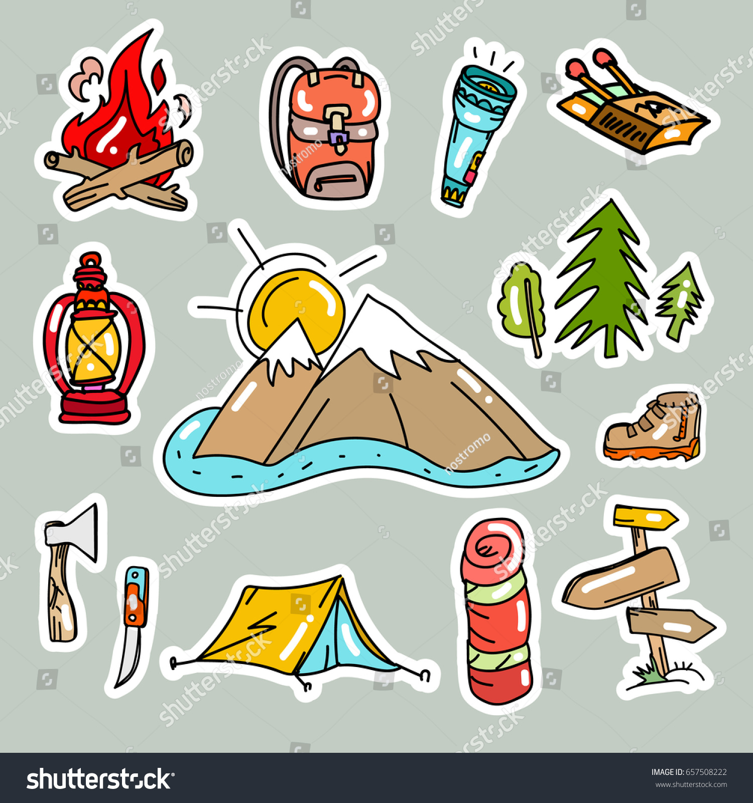 Camping Stickers Pop Art Style Tourism Stock Vector Royalty Free
