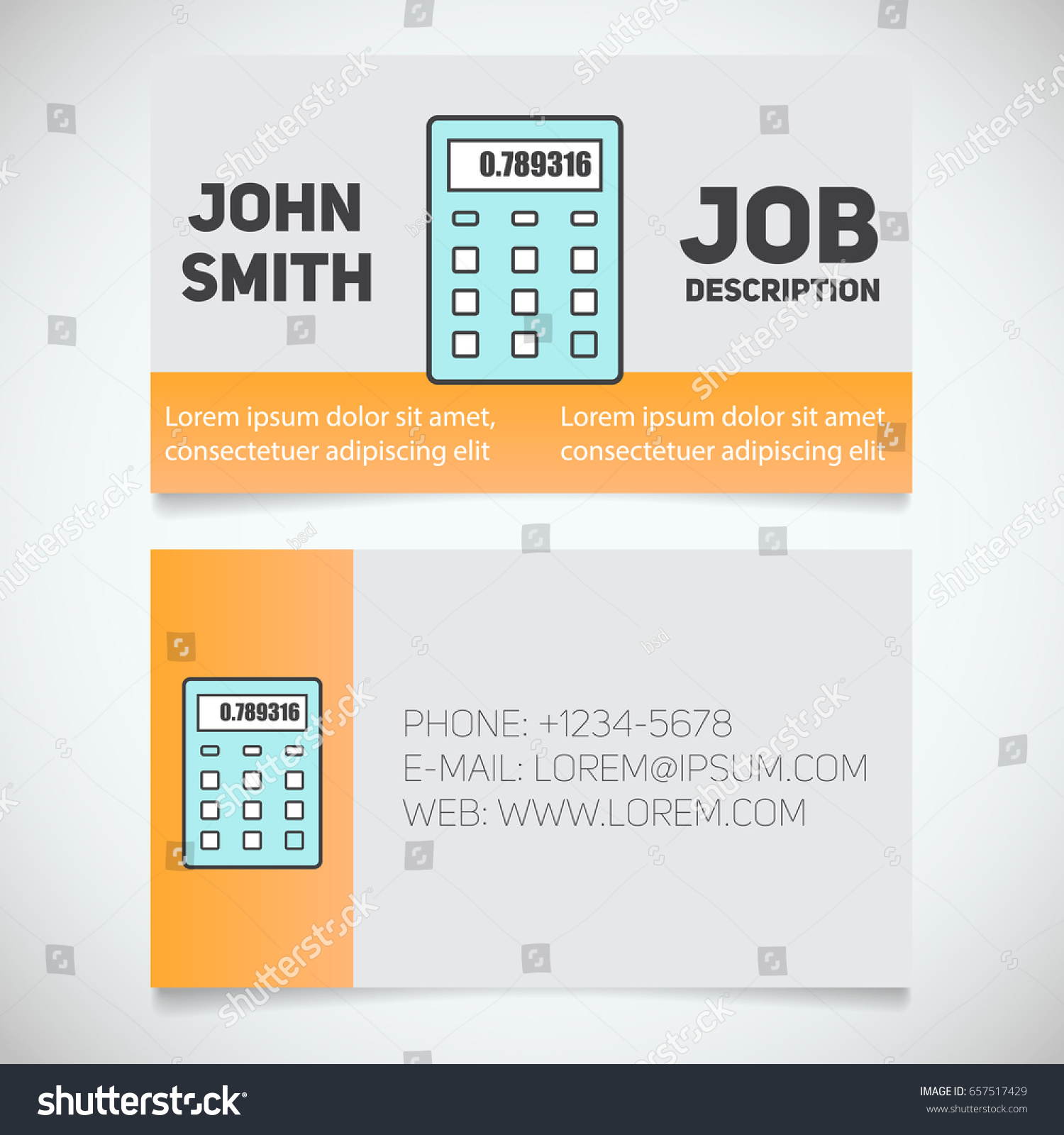 Business Card Print Template Calculator Logo Stock Vector ...