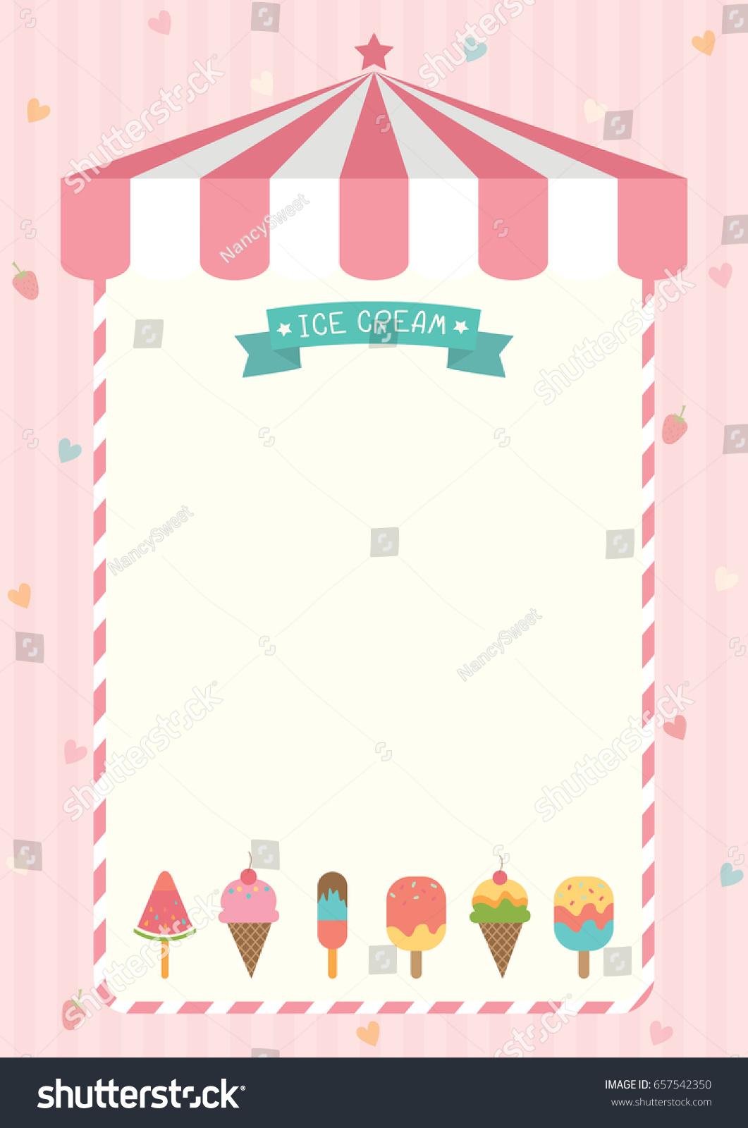 Ice Cream Cone Bar Various Flavors Stock Vector 657542350